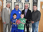 Founder of DDI Raymond Whitehead, David Kelly Chairperson of Welcome FC youth Club, Pat Greene Leader of DDI, Anthony Connor, Jamie Lee and Zac Alaou at the launch in Drogheda Boxing Club Moneymore. Photo:Colin Bell/pressphotos.ie