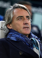Calcio, semifinali di andata di Coppa Italia: Juventus vs Inter. Torino, Juventus Stadium, 27 gennaio 2016. <br /> FC Inter&rsquo;s coach Roberto Mancini arrives for the Italian Cup semifinal first leg football match between Juventus and FC Inter at Juventus stadium, 27 January 2016.<br /> UPDATE IMAGES PRESS/Isabella Bonotto