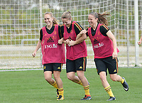 20180306 - LARNACA , CYPRUS :  Belgian Janice Cayman , Justien Odeurs and Lenie Onzia (r) pictured during a Matchday -1 training from The Belgian Red Flames prior to their game against South Africa , on tuesday 6 March 2018 at the Alpha Sports Grounds in Larnaca , Cyprus . This will be the final game for Belgium during the Cyprus Womens Cup for a battle for the 5th place , a prestigious women soccer tournament as a preparation on the World Cup 2019 qualification duels. PHOTO SPORTPIX.BE | DAVID CATRY