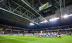 Solna 2014-03-31 Fotboll Allsvenskan AIK - IFK G&ouml;teborg :  <br /> Vy &ouml;ver Friends Arena under innan matchen mellan AIK och IFK G&ouml;teborg <br /> (Foto: Kenta J&ouml;nsson) Nyckelord:  AIK Gnaget Solna IFK G&ouml;teborg Bl&aring;vitt inomhus interi&ouml;r interior jumbotron tak