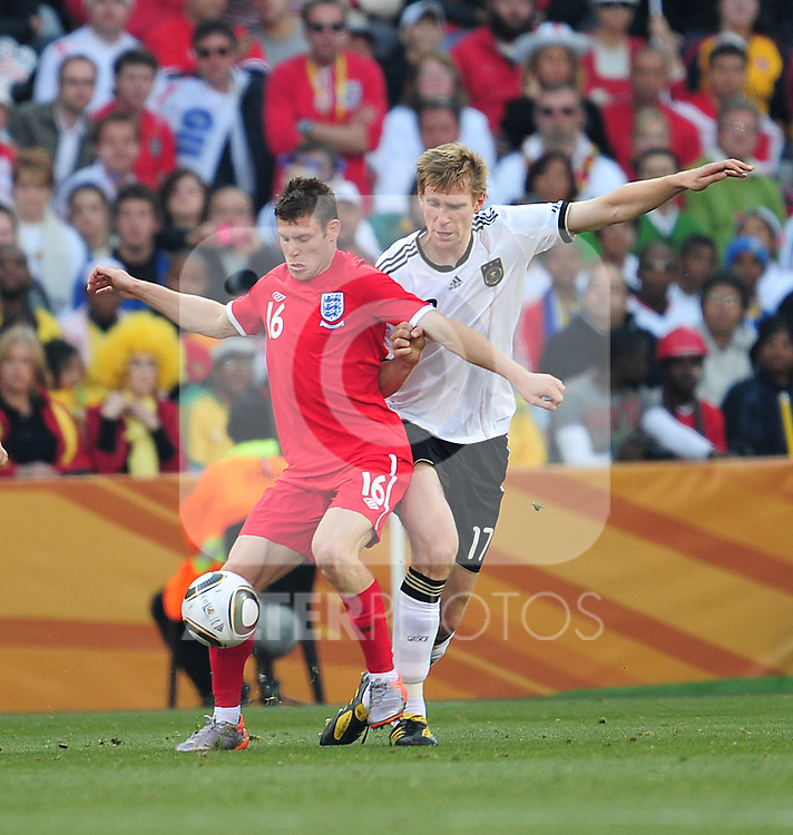 James Milner during the 2010 World Cup Soccer match between England and Germany in a group 16 match played at the Freestate Stadium in Bloemfontein South Africa on 27 June 2010.