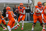 in action during the Servpro First Responder Bowl game between Boise State Broncos and Boston College Eagles at the Cotton Bowl Stadium in Dallas, Texas.