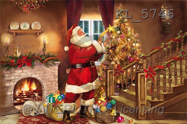 Interlitho, Patricia, CHRISTMAS SANTA, SNOWMAN, paintings, santa, stair, room(KL5746,#X#) Weihnachtsmänner, Schneemänner, Weihnachen, Papá Noel, muñecos de nieve, Navidad, illustrations, pinturas