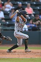 Greensboro Grasshoppers Ji-Hwan Bae (51) bats during a game with the Hickory Crawdads at L.P. Frans Stadium on May 27, 2019 in Hickory, North Carolina.  The Grasshoppers defeated the Crawdads 8-2. (Tracy Proffitt/Four Seam Images)