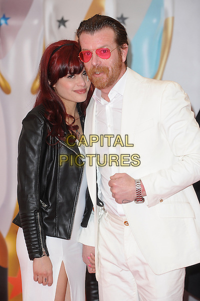LONDON, ENGLAND - FEBRUARY 24: Jesse Hughes and Tuesday Cross attend the Brit Awards 2016 at The O2 Arena in London on February 24, 2016 in London, England.<br /> CAP/BEL<br /> &copy;Tom Belcher/Capital Pictures