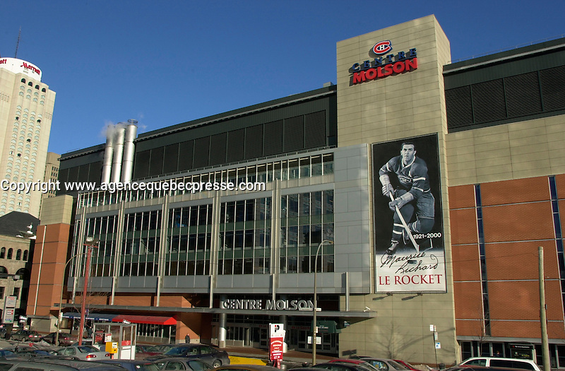 NEW MAJORITY OWNER FOR THE MONTREAL CANADIENS AND SALE OF THE MOLSON CENTRE<br /> <br /> March 7th, 2001 outside photo of the north side of the Molson Centre; home of the Montreal `` Canadiens `` hockey club.<br /> Molson Inc. today on January 31st, 2001  that a new majority owner (for the Montreal Canadiens and  the Molson Centre) ;  Colorado businessman George N. Gillett Jr. will purchase 80.1% controlling interest in the hockey team and 100% of the Molson Centre in a deal valued at $275 million. Molson will retain a 19.9% stake in the hockey team and receive a total of $190 million in cash. &quot;<br /> George Gillett is an experienced businessman with accomplishments in sports, resort and leisure management, television broadcasting, transportation and agriculture. He currently serves as chairman of Booth Creek Management Corp., and managing partner of the Gillett Family Partnerships, which control or have investments in a variety of businesses. Mr. Gillett is also Chairman and Chief Executive Officer of Booth Creek Ski Holdings, Inc., made up of some of the finest ski resorts in the United States. &quot;<br /> Molson's decision to sell a majority interest in the hockey club was announced in June 2000, after a thorough examination of its role in the sports and entertainment industry, in the context of the Company's commitment to return to its brewing roots. It is also a logical step in the development of a strategy to improve the hockey team while leveraging the 40-year business relationship between Molson and the Canadiens. <br /> Molson (TSE: MOL.A) is Canada's pre-eminent brewer with more than $2 billion in annual sales. Founded in 1786, Molson is North America's oldest beer brand and a global brand name with products that include Molson Canadian, Molson Export, Molson Dry, Rickard's Red and the Brazilian beer brand, Bavaria. <br /> <br /> Photo by Pierre Roussel / Liaison<br /> NOTE :  Nikon D-1 Tiff opened as NTSC and converted to Adobe RGB. No levels adjusted.<br /> -