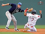Shortstop Trevor Story (3) of the Asheville Tourists makes the tag on Jose Garcia (7) of the Greenville Drive attempting to steal second base in a game on May 14, 2012, at Fluor Field at the West End in Greenville, South Carolina. Asheville won 11-6. (Tom Priddy/Four Seam Images)