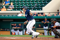 Lakeland Flying Tigers designated hitter Will Allen (15) follows through on a swing during a game against the Jupiter Hammerheads on April 17, 2017 at Joker Marchant Stadium in Lakeland, Florida.  Lakeland defeated Jupiter 5-1.  (Mike Janes/Four Seam Images)