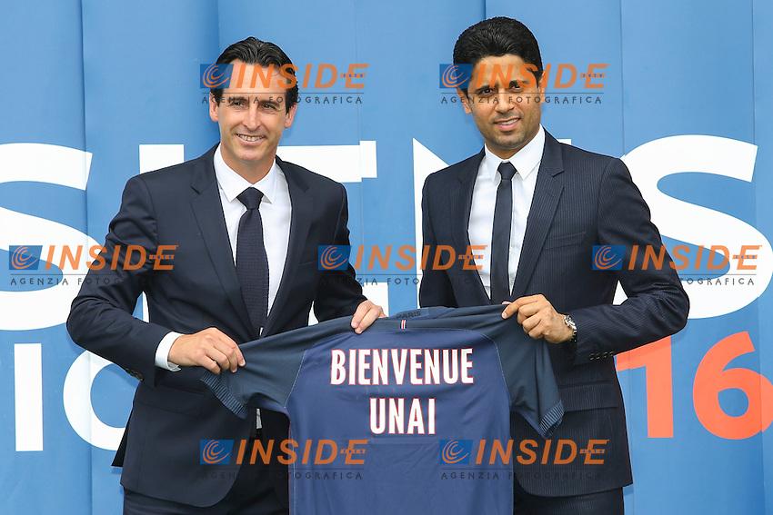 Nasser Al Khelaifi ( Presidente PSG) e Unai Emery<br /> Parigi 04-07-2016 <br /> Presentazione Nuovo Allenatore Paris Saint Germain