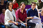 Pablo Iglesias, Inigo Errejon and Carolina Bescansa during the presentation of the electioneering of Unidos Podemos. Jun 2,2016. (ALTERPHOTOS/Rodrigo Jimenez)