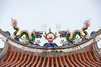 Dragon Roof Decorations, Eng Chuan Tong Tan Kongsi Temple and Clan House, George Town, Penang, Malaysia.