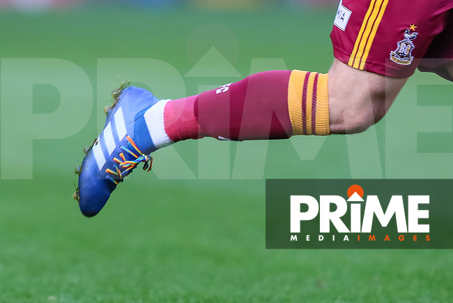 Bradford City player wearing rainbow laces during the Sky Bet League 1 match between Bradford City and Oxford United at the Northern Commercial Stadium, Bradford, England on 24 November 2018. Photo by Thomas Gadd.