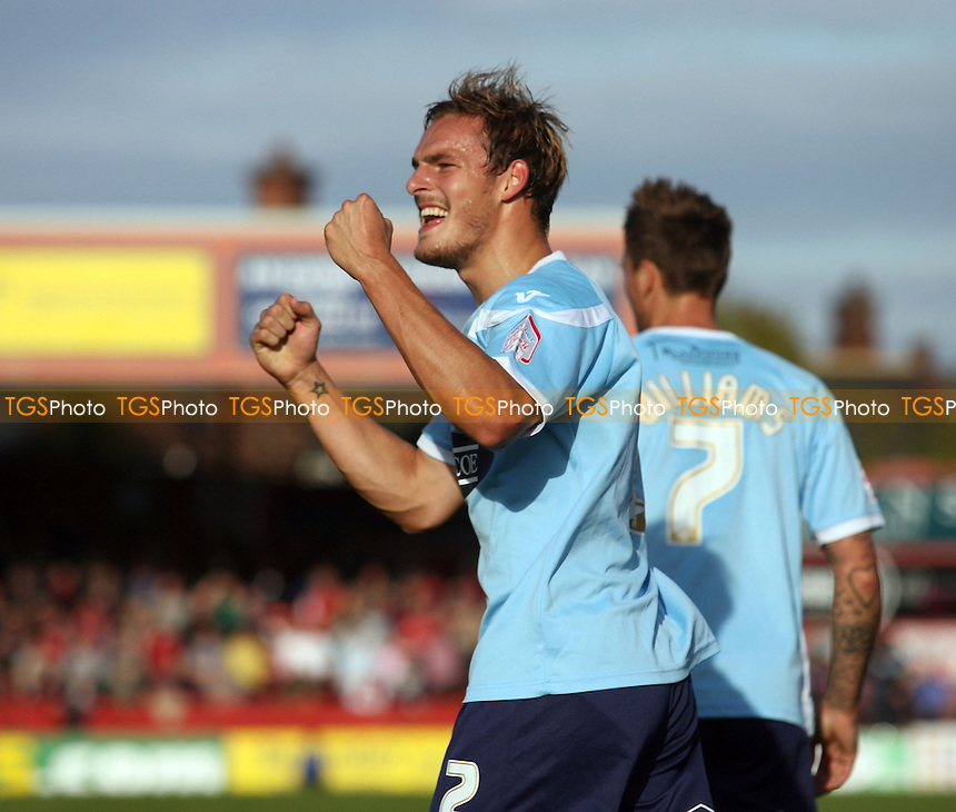 Luke Wilkinson of Dagenham celebrates scoring the opening Daggers goal - York City vs Dagenham and Redbridge at the Bootham Crescent Stadium  - 20/10/12 - MANDATORY CREDIT: Dave Simpson/TGSPHOTO - Self billing applies where appropriate - 0845 094 6026 - contact@tgsphoto.co.uk - NO UNPAID USE.