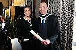 21/11/2014  Attending the Irish College of Humanities and Applied Science Conferrings in The Castletroy Park Hotel were Fintan McCoy, Castletroy, who was conferred with a B.A Hons in Counselling and Psychotherapy and Laurainne Howley, Registrar, Irish College of Humanities and Applied Science.<br /> Picture: Gareth Williams