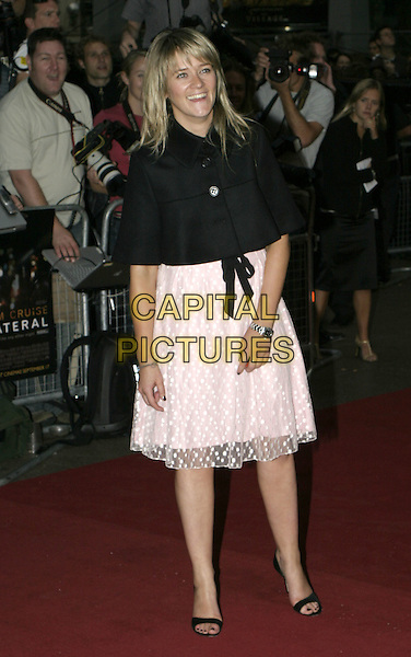 EDITH BOWMAN.Collateral UK premiere, UCI Empire, Leicester Square, London, 2nd September 2004..full length pink babydoll dress black ribbon belt bow polka dot black cape shawl.Ref: AH.www.capitalpictures.com.sales@capitalpictures.com.©Capital Pictures.