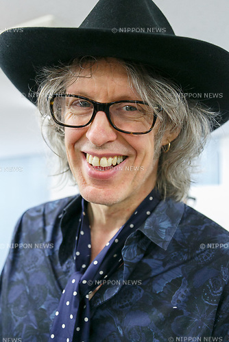 Japanese artist Megumi Igarashi's fiancé Mike Scott of The Waterboys appears during a press conference on April 13, 2017, Tokyo, Japan. Igarashi also known as Rokudenashiko was declared partly innocent by the Tokyo District Court, today April 13, after first being arrested in 2014 for distributing 3D data of her genitals as part of a crowd funding project to make a kayak based on her vulva. She had been found guilty in 2016 of breaking obscenity laws and fined JPY 400,000 but appealed that ruling. She was found guilty of distributing obscene data via the internet but innocent for displaying her art. Her fiancé Mike Scott of The Waterboys was also in Tokyo to attend the hearing. (Photo by Rodrigo Reyes Marin/AFLO)