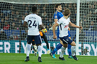 Harry Kane of Tottenham pulls one back during the Premier League match between Leicester City and Tottenham Hotspur at the King Power Stadium, Leicester, England on 28 November 2017. Photo by James Williamson / PRiME Media Images.