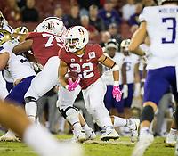 Stanford, CA - October 5, 2019: Cameron Scarlett at Stanford Stadium. The Stanford Cardinal beat the University of Washington Huskies 23-13.