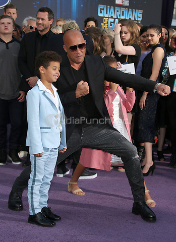 "HOLLYWOOD, CA - April 19: Vin Diesel, Hania Riley Sinclair, Vincent Sinclair, At Premiere Of Disney And Marvel's ""Guardians Of The Galaxy Vol. 2"" At The Dolby Theatre  In California on April 19, 2017. Credit: FS/MediaPunch"