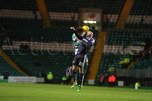 02.03.2016. Celtic Park, Glasgow, Scotland. Scottish Premier League. Celtic versus Dundee. Gary Harkins of Dundee challenges for the header