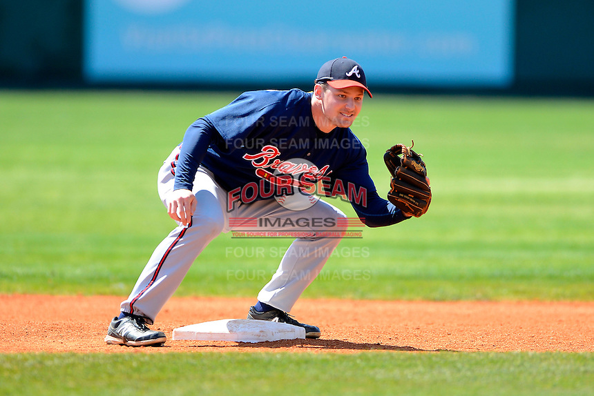 Atlanta Braves infielder Philip Gosselin #57 during practice before a minor league Spring Training game against the Philadelphia Phillies at Al Lang Field on March 14, 2013 in St. Petersburg, Florida.  (Mike Janes/Four Seam Images)