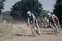 Wout Van Aert (BEL/Vérandas Willems-Crelan) leading over a grass section ahead of Tim Merlier (BEL/Vérandas Willems-Crelan) & Taco van der Hoorn (NED/Roompot-Nederlandse Loterij)<br /> <br /> 92nd Schaal Sels 2017 <br /> 1 Day Race: Merksem > Merksem (188km)