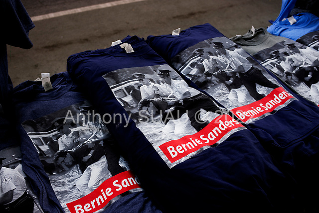 Queens, New York<br /> Queensbridge Park<br /> October 19.2019<br /> <br /> Senator Bernie Sanders times for sale at his first major campaign rally since suffering from a heart attack earlier this month in Queensbridge Park. <br /> <br /> Congresswoman New York Rep. Alexandria Ocasio-Cortez endorses Sanders for US President at the rally.<br /> <br /> An estimated 26,000 people attended the event according to the Sanders campaign.