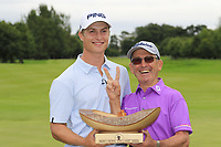 Calum Hill (SCO) wins the tournament by 1 shot scoring 64 with super caddy John &quot;Ronnie&quot; Roberts, this was Ronnies 2nd round having already shot a 63 with Daan Huizing earlier in the day, at the end of Sunday's Final Round of the Northern Ireland Open 2018 presented by Modest Golf held at Galgorm Castle Golf Club, Ballymena, Northern Ireland. 19th August 2018.<br /> Picture: Eoin Clarke | Golffile<br /> <br /> <br /> All photos usage must carry mandatory copyright credit (&copy; Golffile | Eoin Clarke)