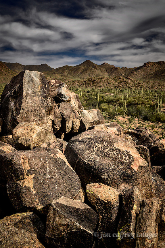 The Signal Hill Petroglyphs in Arizona's Saguaro National Park were made by the ancient Hohokam people more than a thousand years ago.