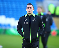 12th January 2020; Cardiff City Stadium, Cardiff, Glamorgan, Wales; English Championship Football, Cardiff City versus Swansea City; Connor Roberts of Swansea City arrives at Cardiff City Stadium before the local derby - Strictly Editorial Use Only. No use with unauthorized audio, video, data, fixture lists, club/league logos or 'live' services. Online in-match use limited to 120 images, no video emulation. No use in betting, games or single club/league/player publications