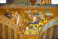 Medieval Byzantine style mosaics of the Bible story of Abraham, Palatine Chapel, Cappella Palatina, Palermo, Italy