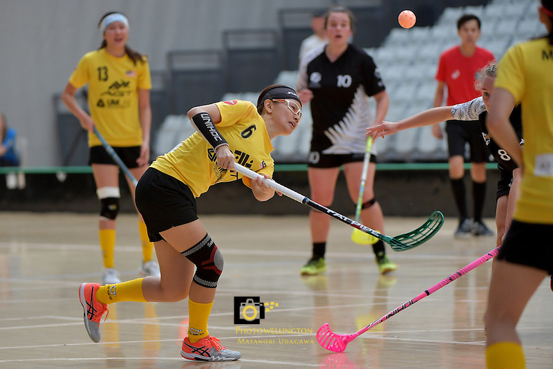 Malaysia's Eelee Tan in action during the World Floorball Championships 2017 Qualification for Asia Oceania Region - New Zealand v Malaysia at ASB Sports Centre , Wellington, New Zealand on Saturday 4 February 2017.<br /> Photo by Masanori Udagawa<br /> www.photowellington.photoshelter.com.