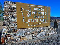 Ginkgo Petrified Forest State Park entry sign, made with multi-colored petrified wood, Vantage, Washington State.