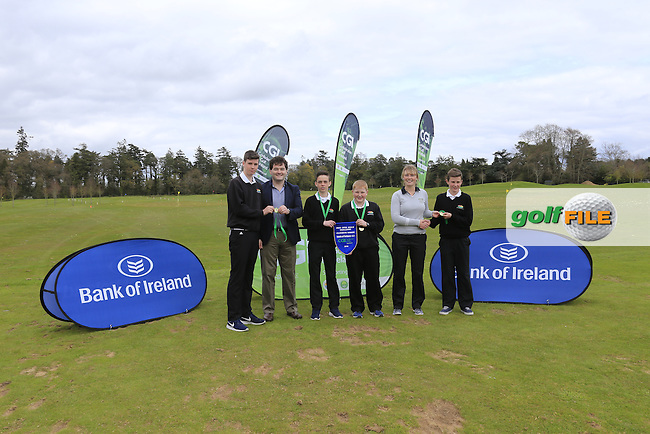 Gavin Kelly Bank Of Ireland and Kate Whyte CGI present Connacht regional finalist Enniscrone Golf Club with there medals and pendant at the national finals of the Dubai Duty Free Irish Open Skills Challenge supported by Bank of Ireland in conjunction with CGI at the GUI National Golf Academy, Carton House, Maynooth, Co Kildare. 24/04/2016.<br /> Picture: Golffile | Fran Caffrey<br /> <br /> <br /> All photo usage must carry mandatory copyright credit (&copy; Golffile | Fran Caffrey)