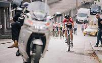 Jelle Vanendert (BEL/Lotto-Soudal) trying to move up to race leader Jungels up the Saint-Nicolas<br /> <br /> 104th Liège - Bastogne - Liège 2018 (1.UWT)<br /> 1 Day Race: Liège - Ans (258km)