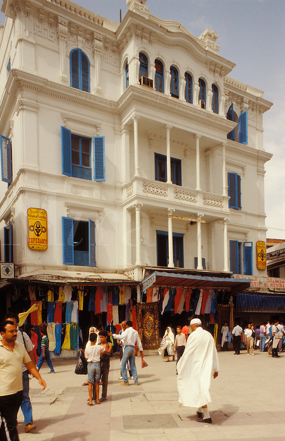 .Tunisia. Tunis.  Colonial style building and bazaar.