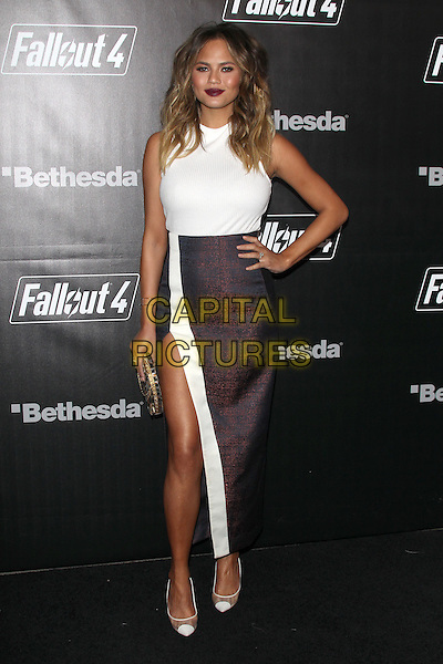 LOS ANGELES, CA - NOVEMBER 5: Chrissy Teigen at the Fallout 4 video game launch event in downtown Los Angeles on November 5, 2015 in Los Angeles, California. <br /> CAP/MPI21<br /> &copy;MPI21/Capital Pictures