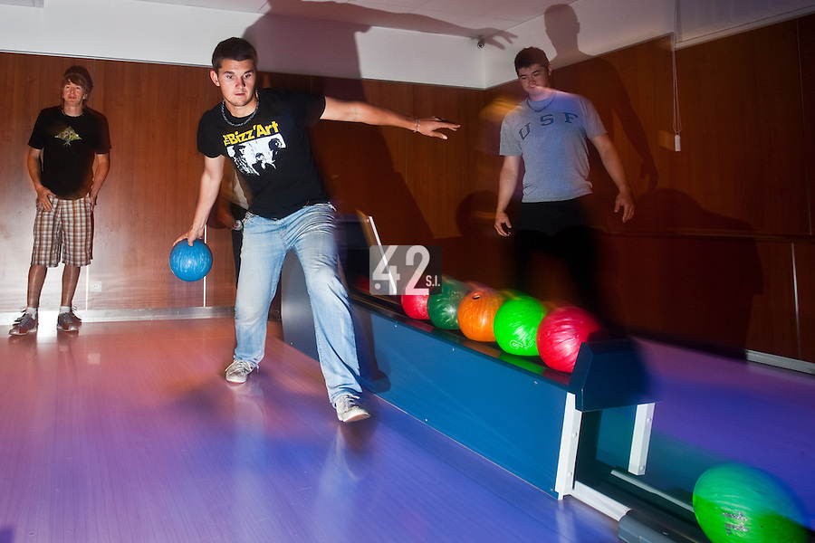 01 June 2010: Quentin Becquey, Maxime Lefevre, Kenji Hagiwara, of Rouen playing bowling the day before the start of the 2010 Baseball European Cup in Brno, Czech Republic.