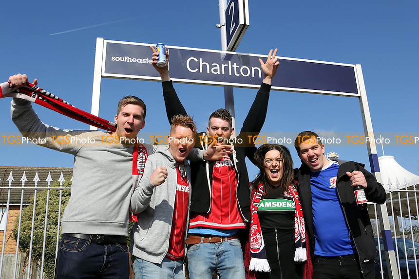 Middlesbrough fans arrive at Charlton railway station in good spirits ahead of the match during Charlton Athletic vs Middlesbrough, Sky Bet Championship Football at The Valley on 13th March 2016