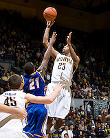 Allen Crabbe of California shoots the ball during the game against UCSB Gauchos at Haas Pavilion in Berkeley, California on December 19th, 2011.   California defeated UC Santa Barbara, 7-50.