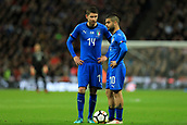27th March 2018, Wembley Stadium, London, England; International Football Friendly, England versus Italy; Lorenzo Insigne of Italy speaks with Jorginho of Italy as they line up a free kick late in the game
