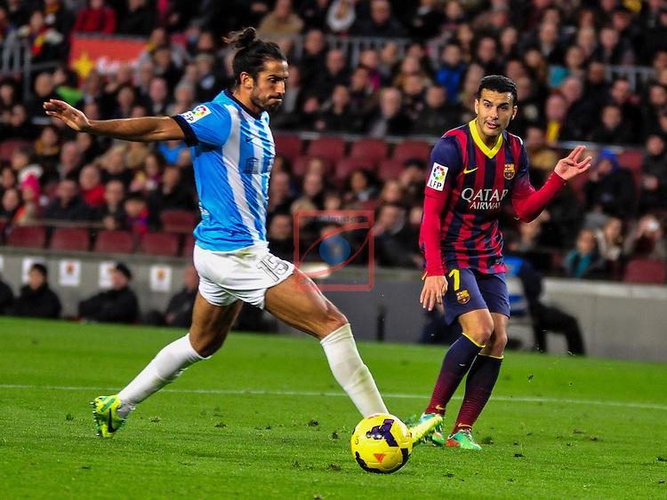 League BBVA 2013/2014 - Game: 21.<br /> FC Barcelona vs Malaga CF: 3-0.<br /> Angeleri vs Pedro Rodriguez.