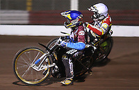 Heat 5: Jonas Davidsson (blue) and Leigh Adams (white) - Lakeside Hammers vs Swindon Robins, Elite League Speedway at the Arena Essex Raceway, Purfleet - 03/09/10 - MANDATORY CREDIT: Rob Newell/TGSPHOTO - Self billing applies where appropriate - 0845 094 6026 - contact@tgsphoto.co.uk - NO UNPAID USE.