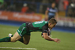 Connacht wing Matt Healy dives over to score the first try of the match.<br /> RaboDirect Pro 12<br /> Cardiff Blues v Connacht<br /> Cardiff Arms Park<br /> 13.09.13<br /> <br /> ©Steve Pope-SPORTINGWALES