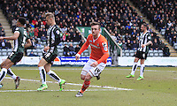 Jack Marriott of Luton Town wheels away in celebration after scoring the opening goal during the Sky Bet League 2 match between Plymouth Argyle and Luton Town at Home Park, Plymouth, England on 19 March 2016. Photo by Liam Smith.