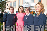 TV3 presenter Colette Fitzpatrick posed for a photo with students Alex Redlich, Aisling Leahy and Diane Carroll from Presentation secondary school, Tralee at the Brandon Hotel on Friday for the annual Young Entrepreneur Blue Sky Day.