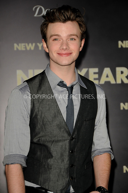 WWW.ACEPIXS.COM . . . . .  ....December 5 2011, LA....Chris Colfer arriving at the premiere of 'New Year's Eve' at Grauman's Chinese Theatre on December 5, 2011 in Hollywood.....Please byline: PETER WEST - ACE PICTURES.... *** ***..Ace Pictures, Inc:  ..Philip Vaughan (212) 243-8787 or (646) 679 0430..e-mail: info@acepixs.com..web: http://www.acepixs.com