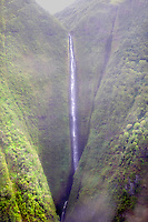 Moaula Falls from the air. Molokai. Hawaii