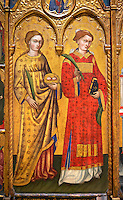 Gothic Altarpiece of  St Estheve and St Agatha, by Pietro da Pisa from liguria, circa 1401-1423, tempera and gold leaf on for wood.  National Museum of Catalan Art, Barcelona, Spain, inv no: MNAC 67192.