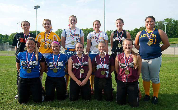 NAUGTAUCK, CT--052615JS25-  Members of the All-NVL Softball Team front row, from left, Ashley Guillette-Oxford; Kaley Kempf-Oxford; Marissa Morris-Torrington; Kara Klimaszewski-Naugatuck and Alexandra Dubois-Torrington. Back row, from left, Toni Risucci-Watertown; Elizabeth Lombardo-Holy Cross; Raeanne Geffert-Seymour; Cassie Rossetti -Seymour; Carla Piccolo-Woodland and Yaixsa Vargas-Kennedy<br />  Jim Shannon Republican-American